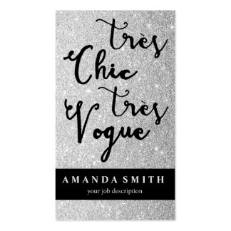Glitter Silver Tres Chic Fashion Boutique Model Pack Of Standard Business Cards