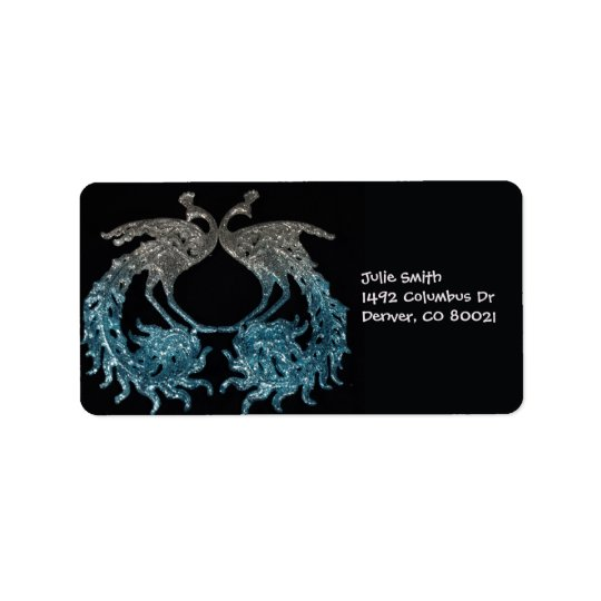 Glitter Sliver and Blue Peacock Address Label