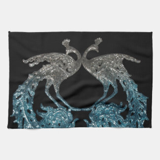 Glitter Sliver and Blue Peacock Hand Towels
