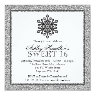 Glitter Snowflake Silver Sweet 16 Winter 13 Cm X 13 Cm Square Invitation Card