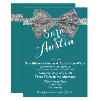 Glitter Sparkle Bow Wedding Invitations