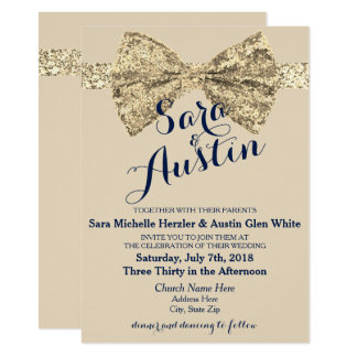 Glitter Sparkle Bow Wedding Invitations