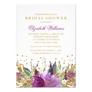 Glitter Sparkling Floral Amethyst Bridal Shower 13 Cm X 18 Cm Invitation Card