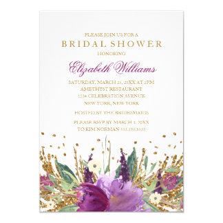 Glitter Sparkling Floral Amethyst Bridal Shower Card
