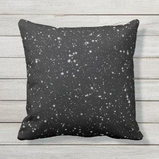 Glitter Stars2 - Silver Black Cushion