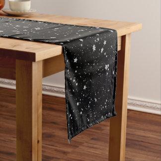 Glitter Stars2 - Silver Black Short Table Runner