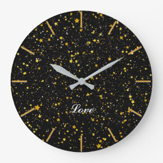 Glitter Stars3 - Gold Black Large Clock
