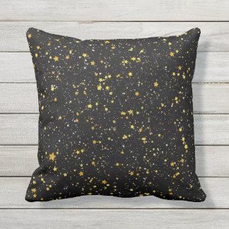 Glitter Stars3 - Gold Black Outdoor Cushion