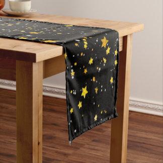 Glitter Stars3 - Gold Black Short Table Runner