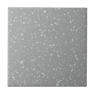 Glitter Stars4 - Silver Ceramic Tile