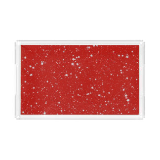 Glitter Stars - Silver Red Acrylic Tray