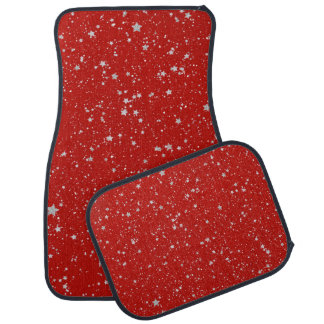 Glitter Stars - Silver Red Car Mat