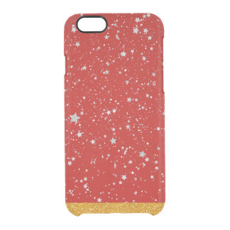 Glitter Stars - Silver Red Clear iPhone 6/6S Case