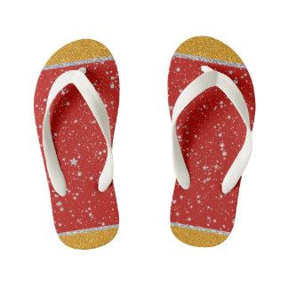 Glitter Stars - Silver Red Kid's Thongs