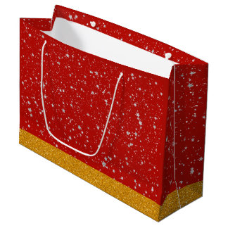 Glitter Stars - Silver Red Large Gift Bag