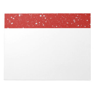 Glitter Stars - Silver Red Notepad