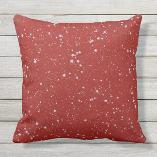 Glitter Stars - Silver Red Outdoor Cushion