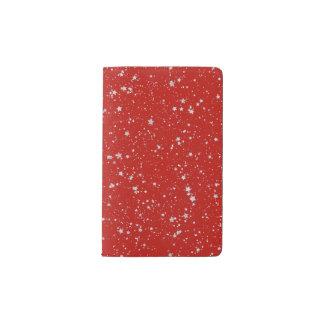 Glitter Stars - Silver Red Pocket Moleskine Notebook