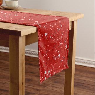 Glitter Stars - Silver Red Short Table Runner