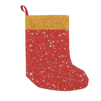 Glitter Stars - Silver Red Small Christmas Stocking