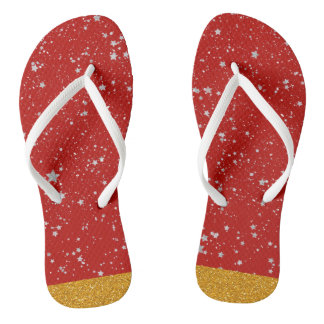 Glitter Stars - Silver Red Thongs