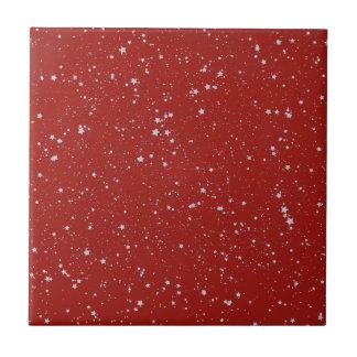 Glitter Stars - Silver Red Tile