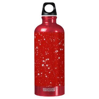 Glitter Stars - Silver Red Water Bottle