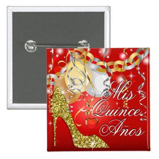 Glitter Stiletto Celebration Quinceañera red 15 Cm Square Badge