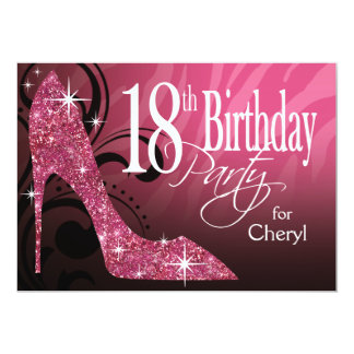 Glitter Stiletto Zebra 18th Birthday pink 13 Cm X 18 Cm Invitation Card