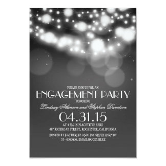 glitter string lights vintage engagement party 13 cm x 18 cm invitation card