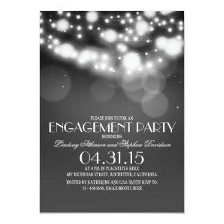 glitter string lights vintage engagement party card