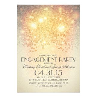 glitter string lights vintage engagement party cards