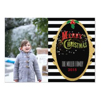 Glitter Striped Christmas Photo Cards 13 Cm X 18 Cm Invitation Card
