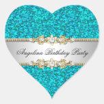 Glitter Teal Birthday Party Gold Jewel Diamond
