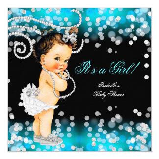 Glitter Teal Blue Black Girl Baby Shower Brunette Card