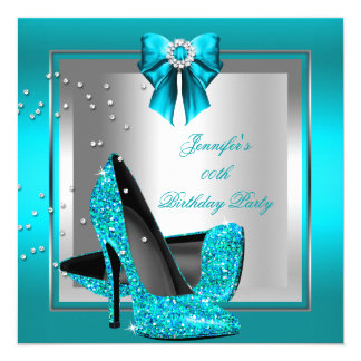 Glitter Teal Blue High Heel Silver Birthday Party 13 Cm X 13 Cm Square Invitation Card