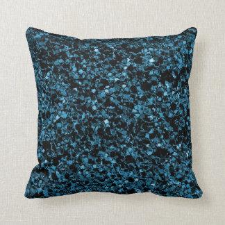Glitter teal blue texture throw pillow