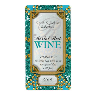Glitter Teal Gold Custom Wine Bottle Labels