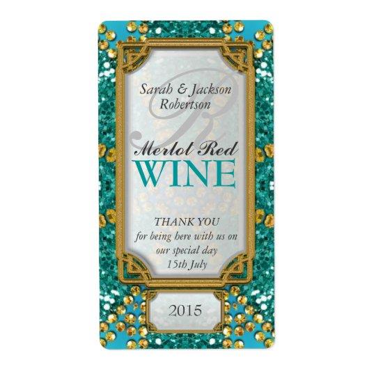Glitter Teal Gold Custom Wine Bottle Labels