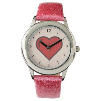 glitter tripe watch with a rose design
