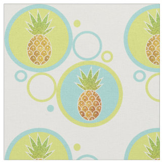 Glitter Tropical Pineapple with 60s Circle Pattern Fabric