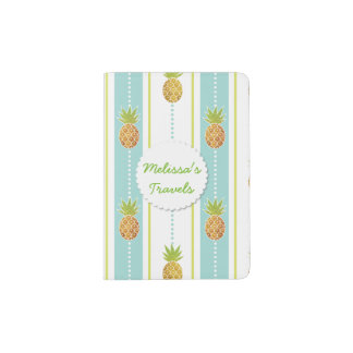 Glitter Tropical Pineapple with Stripes and Dots Passport Holder