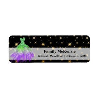 Glitter watercolor dresses return address label