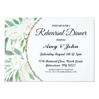 Glitter Watercolor Floral Rehearsal Dinner Invite