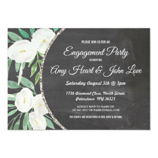 Glitter Watercolor Flowers Engagement Party Invite