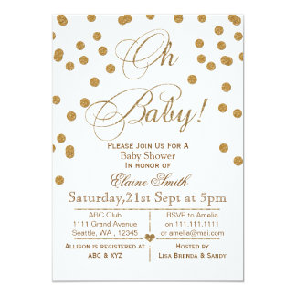 Glitter white and gold baby shower invitation