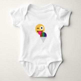glitter wink emoji baby bodysuit