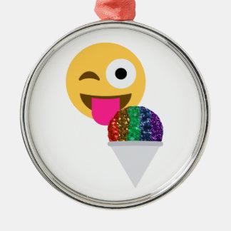 glitter wink emoji metal ornament