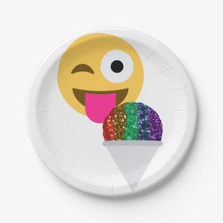 glitter wink emoji paper plates