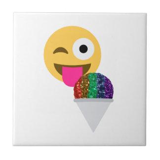 glitter wink emoji small square tile